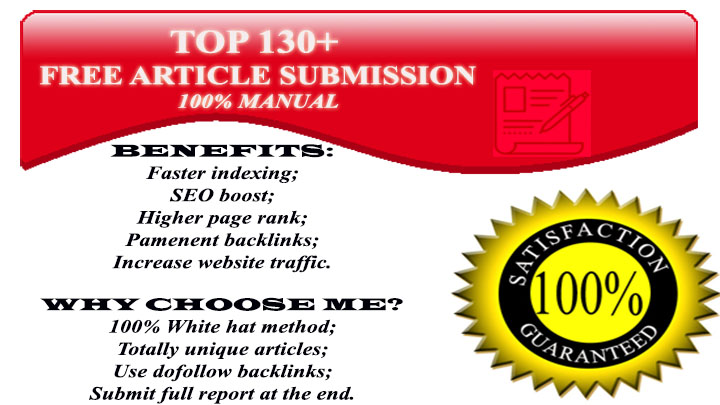 I will submit SEO article manually to 130+ Sites with Top Pr